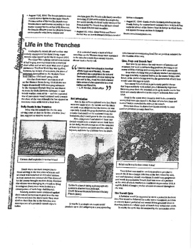 Weapons and mechanical warfare during World War I- & trench warfare lesson plan