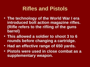 Weapons and their impact of World War One Powerpoint