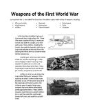 Weapons of World War 1 Activity Sheet