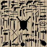 70 Weapon Silhouette Vector, SVG, DXF, PNG, EPS, Gun Machine, Knife, Sword, Axe.