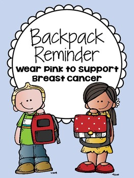 Backpack Reminder - Wear Pink to Support Breast Cancer (English / Spanish)