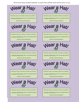 Wear a Hat! Reward Card for Students (Great Incentive!)