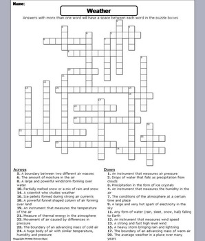Severe Weather Worksheet/ Crossword Puzzle
