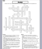Severe Weather Worksheet/ Crossword Puzzle