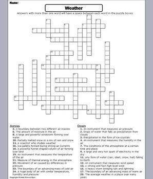severe weather worksheet crossword puzzle by science spot tpt. Black Bedroom Furniture Sets. Home Design Ideas