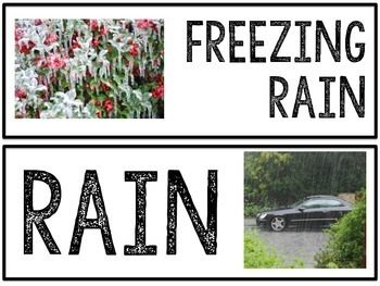 Weather Photo & Vocabulary Cards