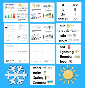 Weather Readers:  Differentiated with 3 Levels + Illustrated Word Wall