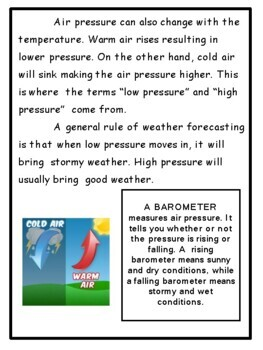 Science: Weather Unit for grades 3-5 Hands On Activities