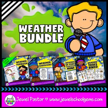 Weather Activities BUNDLE (PowerPoint, Flipbook and QR Codes Scavenger Hunt)