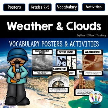 Weather Activities: Weathering, Clouds & Weather Tools Vocabulary Posters