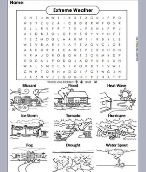 Severe Weather Worksheet/ Coloring Word Search: Hurricane, Tornado, Drought, etc