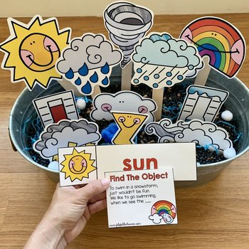 """Weather Activities:  """"Hey Riddle Riddle Sensory Bin Riddles"""""""