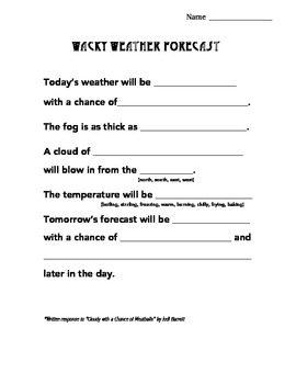 Weather Activities Writing Packet