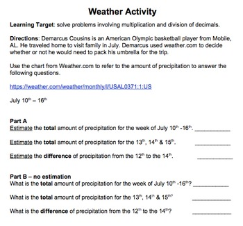 Weather Activity - Adding and Subtracting Decimals with Estimation