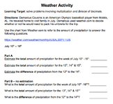 Weather Activity - Adding and Subtracting Decimals with Es