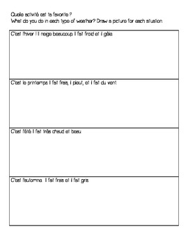 Weather Activity Sheet - French - Great for Sub Plans!