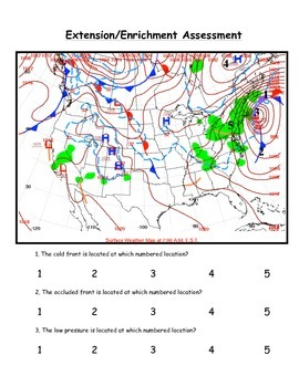 Weather:  Air Masses and Fronts Worksheets/Test - 87 Ques. (For Grades 7-12)