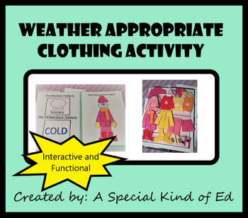 Weather Appropriate Clothing File Folder Activity! Circle, Science, Life Skills!