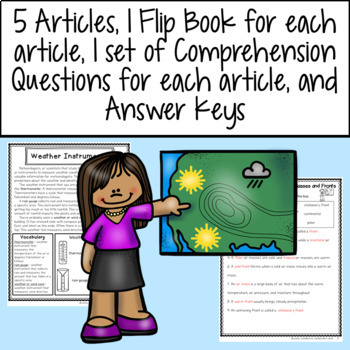 Weather Articles, Flip Books, Comprehension Questions, and Assessment