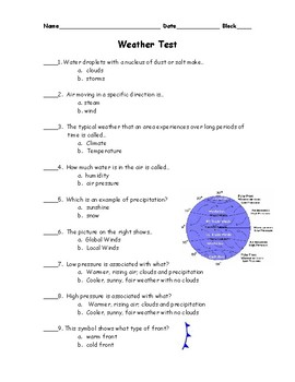 Weather Basics Test and Study Guide