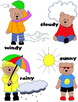 Weather Bears Clip Art:  48 PNGs APRILFLASHSALE14