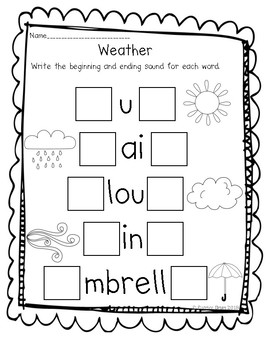 Spring Weather Beginning and Ending Sound Worksheet
