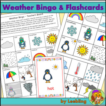 Weather Bingo Game, Flash Cards and Write Around the Room Activity
