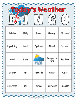 Today's Weather Bingo Game