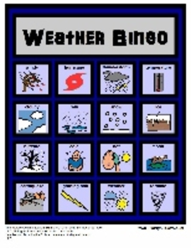 Weather Bingo: Receptive and Expressive Language Activity