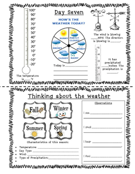 Weather Book - 7 days observation, measurement, graphing! CCSS integrated