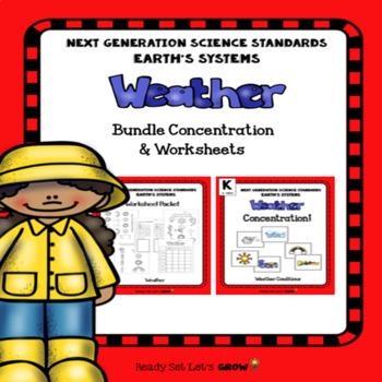 Weather Bundle: Concentration  & Worksheets (NGSS K-ESS2-1)