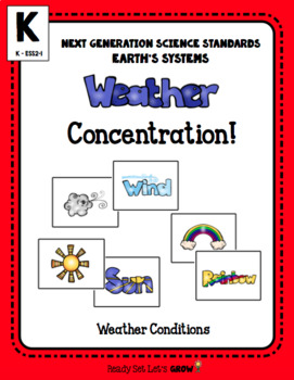 Weather Bundle: Concentration  & Worksheets (NGSS K-ESS2-1)