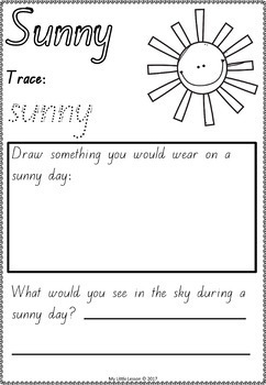 Weather Bundle Qld Beginners Font: Worksheets, Posters, Concept Book