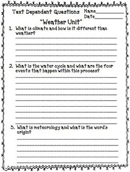 Weather Bundle with Text Dependent Questions for CLOSE Reading