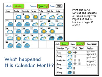 Weather Calendar for the months of the year