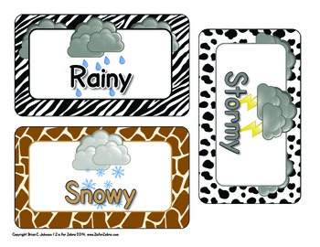 Weather Cards  - Animal Print - ZisforZebra - Editable!