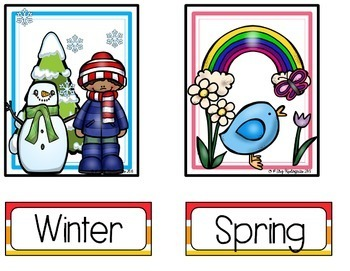 Weather & Season Cards (Bright/Rainbow Style)