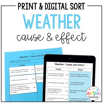 Weather Cause & Effect Sorting Cards and Worksheet (SOL 4.6)