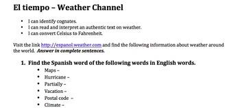 Webquest - Weather Channel Activity/ El tiempo