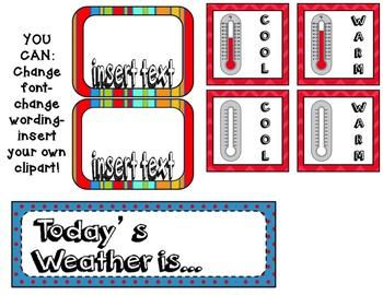 Weather Chart- Editable Circus Theme