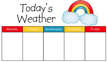 Printable Weather Chart Worksheets Teachers Pay Teachers