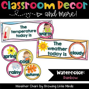 Weather Chart- Rainbow Watercolor classroom decor
