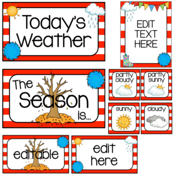 Weather and Season Cards~ Whimsical/Red, White, and Blue Theme