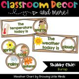 Weather Chart- Shabby Chic Burlap classroom decor