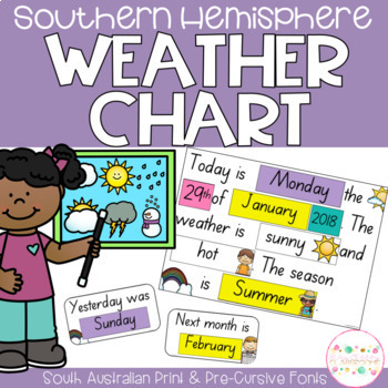 Weather Chart Southern Hemisphere - South Australian Print Font