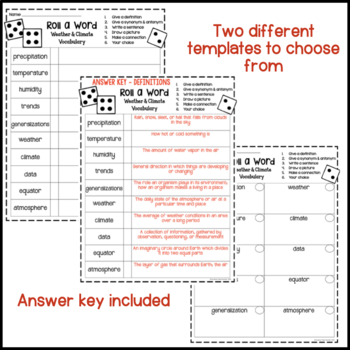 Weather & Climate Fun Interactive Vocabulary Dice Activity