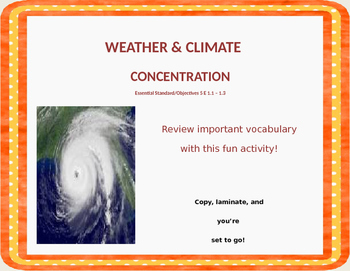 Weather & Climate Vocabulary Concentration