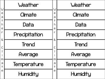 Weather & Climate Vocabulary Flipbook in English & Spanish