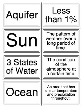 Weather, Climate, and the Water Cycle Flashcards