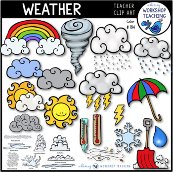 Weather Clip Art Bundle (59 graphics) Whimsy Workshop Teaching